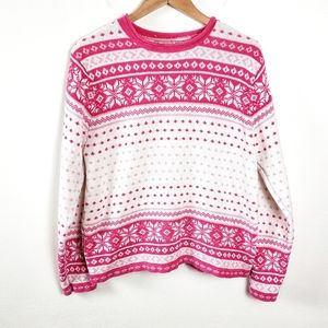 VINTAGE Pink & White Crew Knit Pullover Sweater Lg